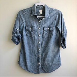 J. Crew Factory | Chambray Tab Sleeve Button Down
